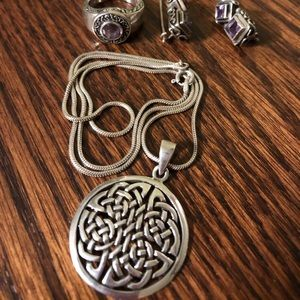 Gorgeous sterling silver and amethyst Celtic set